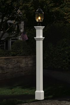 New England Arbors Portsmouth Lamp Post in White