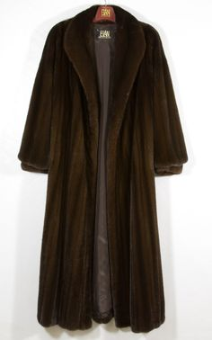 """Lot 564: Full Length Mink Coat; Having an Elan Furs label on this dark brown coat with a """"Cara Y"""" embroidered on the dark brown lining"""
