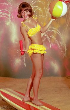Yellow Polka Dot Bikini - Sally Field as Gidget! ~ LOL I made a bathing suit like this in high school.  It was pink with big white polka dots, and had several layers of ruffles.  it actually turned out ok. I just don't think I ever wore it.  I'd bring it out for my friends to see, and laugh.