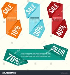 Sale long badge flat design