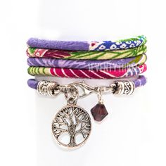 "JAPANESE Chirimen Cord bracelet, named  ""Chrysanthemum on Lavender"", Wrap BRACELET, with Tree of Life charm and SWAROVSKI crystal"