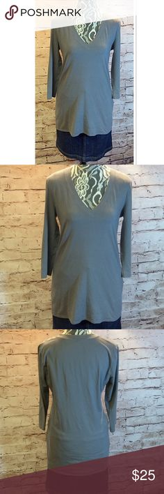 SZ LG NEW YORK & COMPANY LONG V-NECK TEE Nice gray tee with long sleeves and v-neck. Extra long for wearing with skinny jeans or leggings New York & Company Tops Tees - Long Sleeve