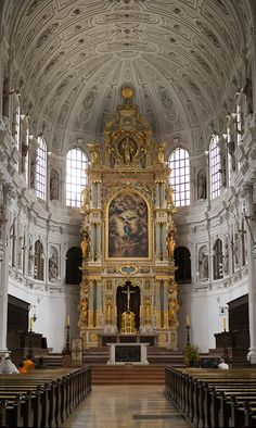 High Altar of Saint Michael's church, Munich, Germany. A fine example of  the late renaissance/early baroque; naturally, a Jesuit church.
