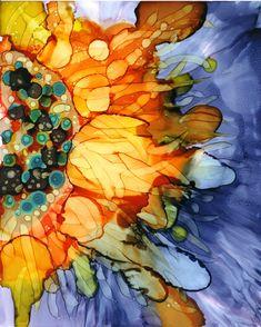 "Alcohol ink on yupo by Yolanda Koh, ""Sunflower bursts"", 8"" x 10"", orange, yellow, blue flower"