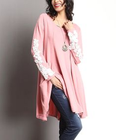 Look what I found on #zulily! Pink Lace-Appliqué Sleeve Swing Dress #zulilyfinds