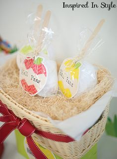 """Use recycled plastic grocery bags by scrunching them up into balls & wrapping them up with cellophane! Attach a Popsicle stick to top back of HexaFun Apples 6″ Designer Cut-Outs and tie up for cute """"Candy Apple"""" Hall Passes!"""