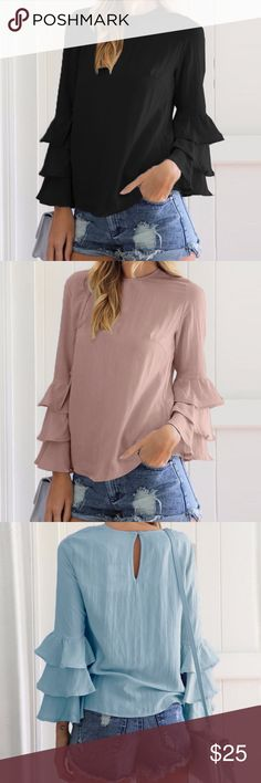 """Black Bell Top (Small-5X) beautiful bell top, polyester blend, lightweight, o-neck design, flattering no matter your body shape, fits small, recommend sizing up, blue and pink colors available in another listing  ❤Add this to your """"likes"""" to get sales news. Optional: Purchase """"arriving"""" sizes now & I'll automatically ship them to you when they arrive back in stock. Tops"""