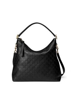 Gucci Miss GG Small Guccissima Leather Hobo Bag, Black