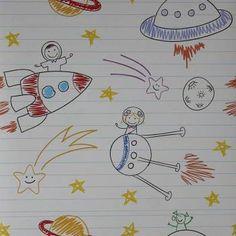 Papel de parede infantil céu e espaço astronautas 005