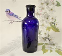 Bristol Blue Apothecary Bottle Vintage Pressed Glass Cork Stopper Collectable