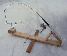Anyone have any homemade ice fishing stuff to share? Ice Fishing Rod Holders, Ice Fishing Tip Ups, Ice Fishing Gear, Ice Fishing Rods, Crappie Fishing, Gone Fishing, Fishing Tips, Fishing Stuff, Homemade Ice