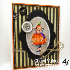 Art Impressions Rubber Stamps: Punkin Pie Set (4520) Handmade card Halloween!