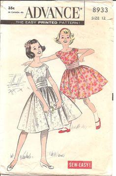 1950s Girls Dress Advance 8933 Vintage Sewing by ErikawithaK