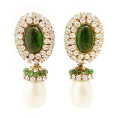1stdibs.com | Vintage Chanel Faux Pearl & Poured Green Gripoix Glass Earrings