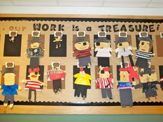 our work is a treasure-pirate theme bulletin Pirate Bulletin Boards, Writing Bulletin Boards, Classroom Bulletin Boards, Classroom Crafts, Classroom Themes, Preschool Crafts, Pirate Day, Pirate Theme, September Activities