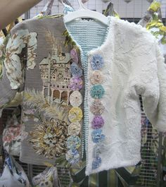 52 FLEA: Vintage Goodies from Saturday's Show - inspiration for using old bark cloth and chenille bedspread