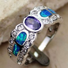 New Amethyst White Topaz Pacific Blue Opal 925 Silver Ring