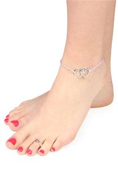 Deb Shops #ankle #bracelet with #hearts and matching toe ring