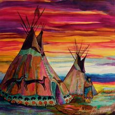 A tepee (tipi, teepee) is a Plains Indian home. It is made of buffalo hide fastened around very long wooden poles, designed in a cone shape. Tepees were warm in the winter and cool in the summer. Some were quite large. http://bit.ly/Yu1ZeP [Summer On The Plains by Anderson R Moore]