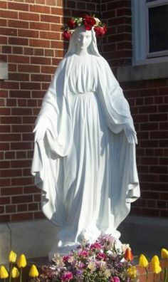 Statue of Mary outside Holy Rosary in Cedar, Michigan.