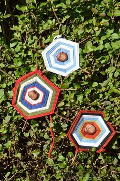 autumn craft for kids (a little adult help needed for holes in chestnuts) - Tactile Craft - Chestnut Spiderwebs from redtedart.com