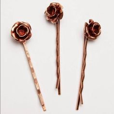 Free People Rose Bobby Pin Set Copper Never Used Set of three metal rosebud bobbies. By Topshelf.  Metal. Free People Accessories Hair Accessories