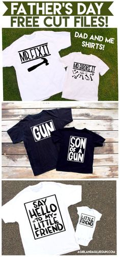 Today I have 3 super cute Father's day cut files that are perfect for dad and kid shirts!  First up is the gun one! Grab the silhouette cut file for Son of a gun HERE Grab the svg for Son of a gun HERE and HERE       Grab the silhouette cut file for little …