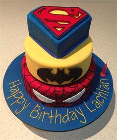 Amanda's Cakes and Invitations - Birthday Cakes superman batman spiderman superhero cake