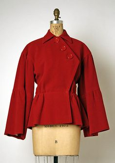 """Jacket, Christian Dior (French, 1905–1957) for the House of Dior (French, founded 1947): late 1940's - early 1950's, French, wool. Marking: [label] """"Christian Dior, Paris."""""""