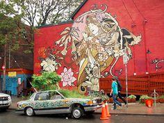 Graffiti of Woman w Flowers