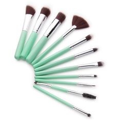 Mint Green Delicate Makeup Brush Set ❤ liked on Polyvore featuring beauty products, makeup, makeup tools and makeup brushes