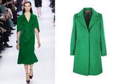 Tendance Manteau vert: Défilé Christian Dior et Manteau Identité: 150€