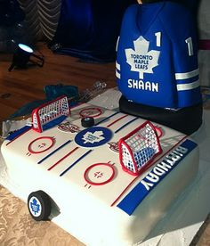 Jocelyn's Wedding Cakes and More....: Maple Leafs Jersey Cake/Hockey Rink Cake/3D Hockey Theme Cake