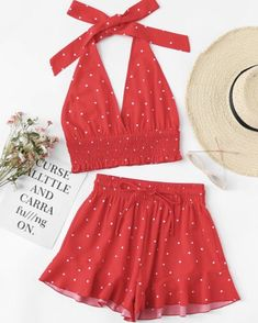 Shirred Polka Dot Halter Top & Shorts Co-Ord Backless Tropical Sets Red Vacation Sexy Two Piece Sets Teen Fashion Outfits, Girly Outfits, Dress Outfits, Girl Fashion, Womens Fashion, Dresses, Cute Summer Outfits, Cute Casual Outfits, Mode Rockabilly