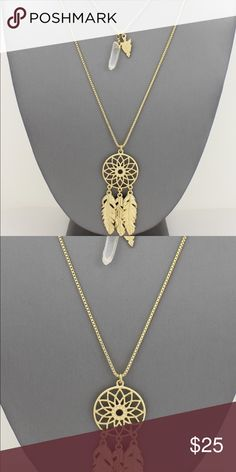 Double Row Dream Catcher Necklace Double Row Dream Catcher Necklace  Gold Matte  36 inch long strand- 2.5 inch wide dream catcher pendant Brand new. messy_boutiquee Jewelry Necklaces