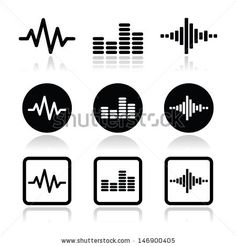 soundwave music vector icons set - stock vector