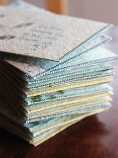 SHOW & TELL: Handmade Paper Envelopes | http://adventures-in-making.com/show-tell-handmade-paper-envelopes/ #handmade #recycled #adventuresinmkg Handmade Stationary, Handmade Envelopes, Paper Envelopes, Handmade Books, Paper Book, Recyle, Paper Recycling, Recycled Paper Crafts, Seed Paper