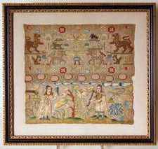 GORGEOUS 17TH CENTURY ENGLISH BAND- SAMPLER - OnlineGalleries.com