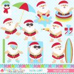 Vacation Santas Clipart