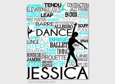 Dance Typography Art Print, Perfect for Girl's Room Art, You Choose the Colors, Makes a Great Gift for any Dancer, Teal and Black Dancer Art