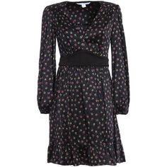 Lizbeth Silk Dress ($330) ❤ liked on Polyvore featuring dresses, multi-color dresses, diane von furstenberg dress, colorful dresses, pattern dress and low v neck dress