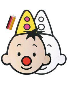Prachtig masker van Bumba de clown. Het leuke aan het masker is dat je deze ook zelf kan inkleuren. Charlie Brown, Hello Kitty, Lego, Snoopy, Templates, Stone, Birthday, Happy, Fictional Characters