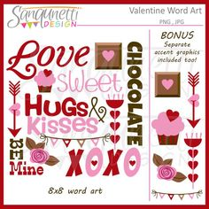 Valentine Word Art Subway Art Lettering by SanqunettiDesigns Valentines Day Clipart, Valentine Words, Happy Valentines Day, Word Art Design, Subway Art, Planner Stickers, Banner, Paper Crafts, Clip Art