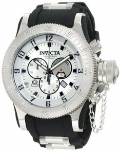 Invicta Men's 10133 Russian Diver Chronograph Silver Dial Black Polyurethane Watch Invicta. Save 83 Off!. $169.58. Water-resistant to 200 m (660 feet). Silver dial with gunmetal hands, black hour markers and silver tone arabic numerals; luminous; unidirectional bezel; secured screw-down cap on crown. Flame-fusion crystal; polished stainless steel case; black polyurethane strap with stainless steel barrel inserts. Chronograph functions with 60 second, 30 minute and 1/10 of a seco...