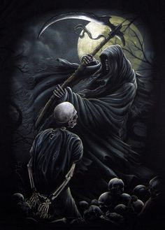 Reapers are powerful undead who turn the living into phantasm and spectral creatures and also some are tasked with holy duties of accompanying the dead to the afterlife Grim Reaper Art, Grim Reaper Tattoo, Don't Fear The Reaper, Arte Horror, Horror Art, Dark Fantasy Art, Dark Art, Totenkopf Tattoos, Dark Angels