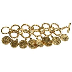 Pre-owned Charm bracelet with coin pendants ($1,805) ❤ liked on Polyvore featuring jewelry, bracelets, gold, gold crown, gold charm bracelet, chain charm bracelet, charm bracelet and gold jewellery