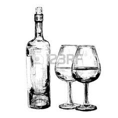 Una botella de vino y dos copas.