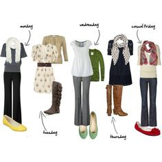 Work Outfits for the Week - I've seen this pinned on several of my friends' boards - wouldn't it be hilarious if we all showed up to school looking like this for a week! :)