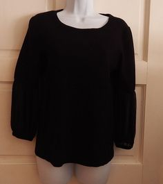 Ann Klein top knit black career solid stretch pullover casual sz L long sleeve #AnneKlein #KnitTop #Career