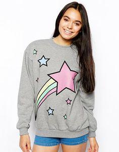 Image 1 ofASOS Boyfriend Sweatshirt with Shooting Star Print